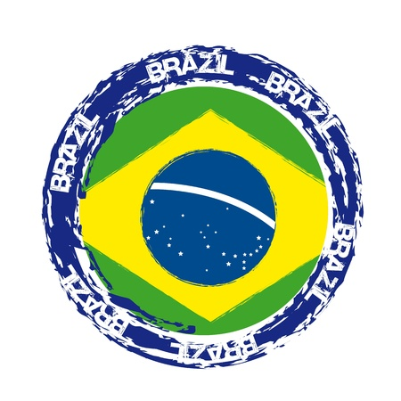 brazil flag: brazil seal with flag isolated over white background. vector illustration