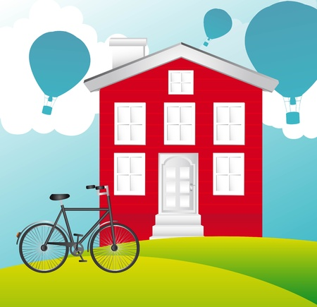 house over landscape with bike and hot ballons. vector illustration Vector