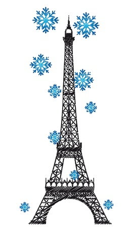 eifel tower: eiffel tower with snowflakes isolated over white background. vector Illustration