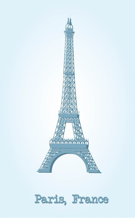 blue eiffel tower with shadow over blue background. vector Vector