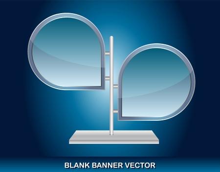backkground: blank banner over blue backkground. vector illustration Illustration