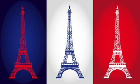 french symbol: eiffel tower over france flag background. vector illustration