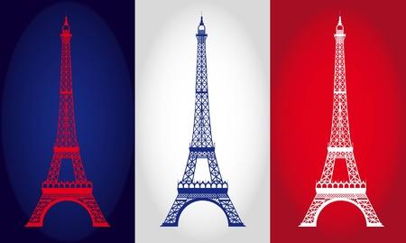 flag france: tour eiffel sur fond de drapeau France. illustration vectorielle