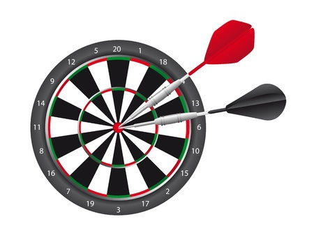 dart and dart board isolated over white background. vector Vector