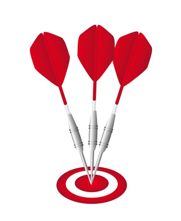 projectile: red darts with dartboard isolated over white background. vector
