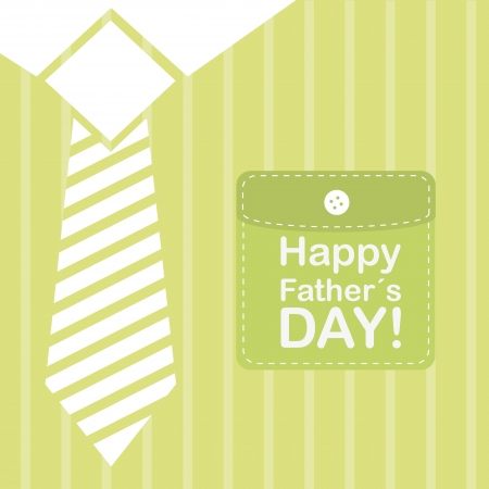 happy fathers day card: happy father day over green t shirt background. vector