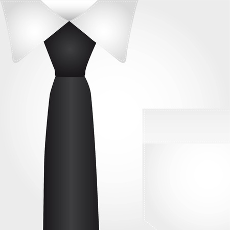 corbata negra: camisa de trabajo con el fondo del lazo negro. ilustraci�n vectorial