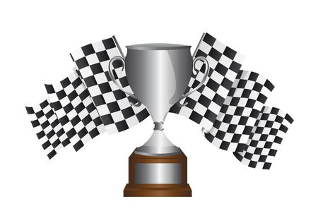 silver trophy with checkered flag isolated over white background. vector Vector