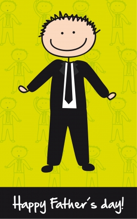 dad daughter: cute businessman over green background, fathers day. vector Illustration