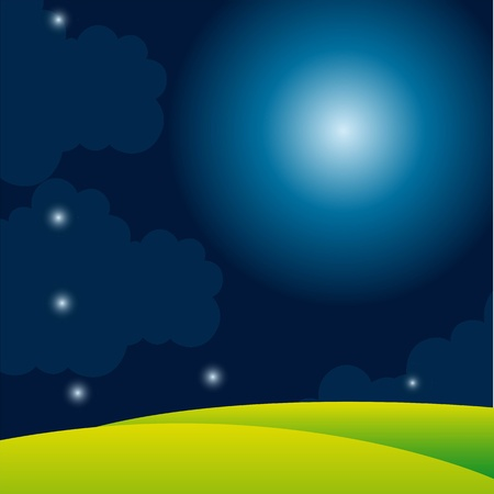 nigh with moon and stars with grass background. vector illustration Stock Vector - 13755206