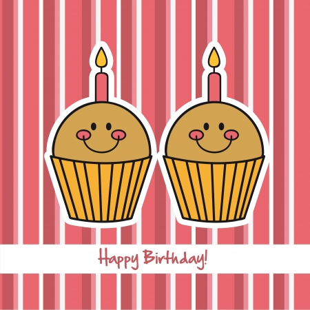 cute cup cakes over pink background, happy birthday. vector Vector