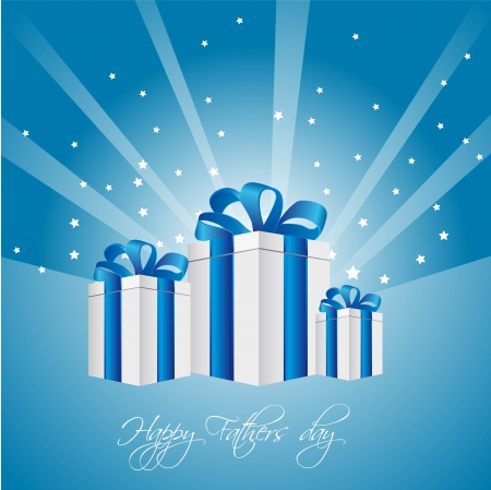fita: gifts over blue background with stars, fathers day. vector illustration  Ilustra��o