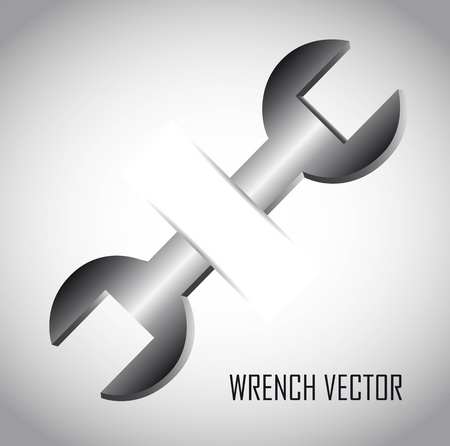 screw: silver wrench over gray background. vector illustration
