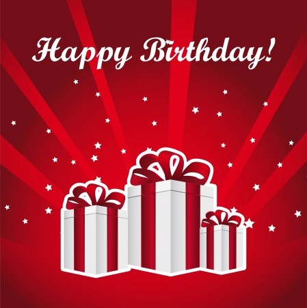gifts over red background with stars, birthday. vector illustration Stock Vector - 13755236