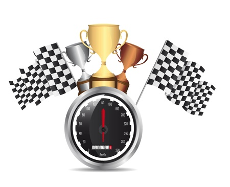 speed racing with trophy with shadow over white background. vector Stock Vector - 13755268