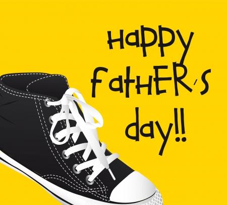 day of father: scarpe da ginnastica su sfondo giallo, giorno padri. illustrazione vettoriale