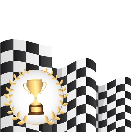trophy with  checkered flag over white background. vector Stock Vector - 13755271