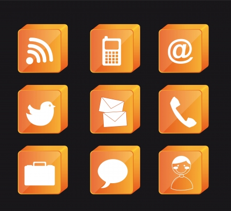 orange communication icons over black background. vector Vector