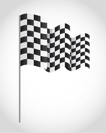 rallying: bandera a cuadros sobre fondo gris. ilustraci�n vectorial