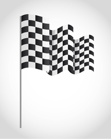 rallying: checkered flag over gray background. vector illustration Illustration