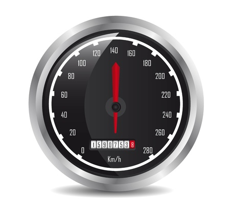 mileage:  car speedometer with shadow over white background. vector