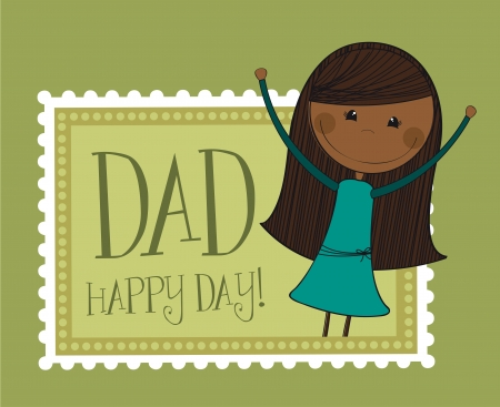 daughter over green background, father day. vector Vector