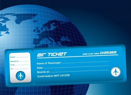 overseas: billete de avi�n azul sobre fondo planeta azul. ilustraci�n vectorial