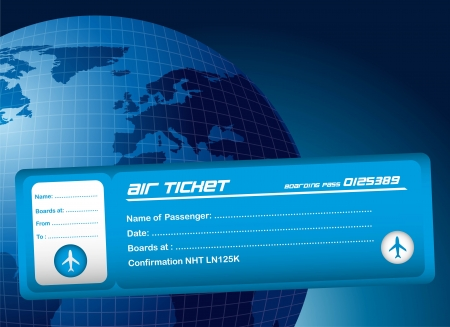 passenger airline: blue air ticket over blue planet background. vector illustration