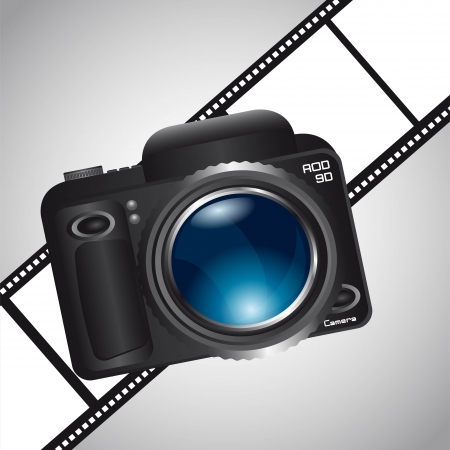camera over film stripe over gray background. vector illustration Vector