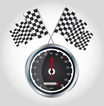 checkered flag with speed racing over gray background. vector Vector
