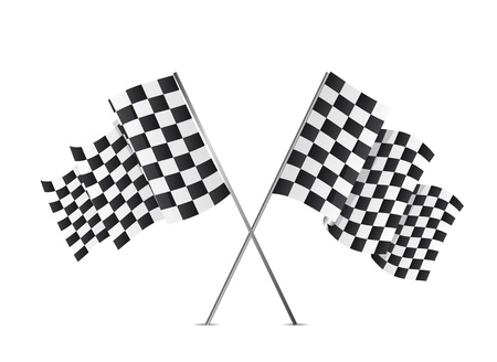 d�part course: drapeaux � damier isol� sur fond blanc. illustration vectorielle
