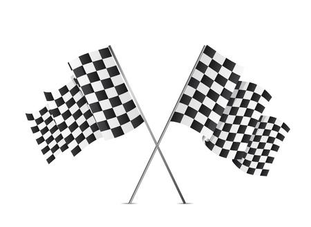 schwarz weiss kariert: Zielflaggen �ber wei�em Hintergrund isoliert. Vektor-Illustration