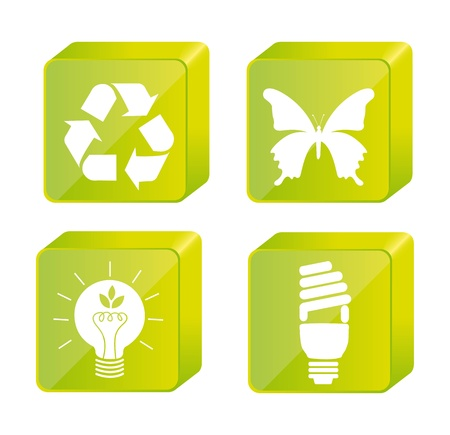 green nature icons isolated over white background. vector Stock Vector - 13755253