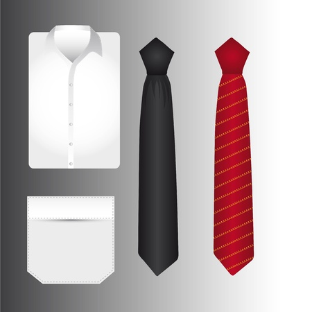 formal clothing: t shirt an tie over gray background. vector illustration