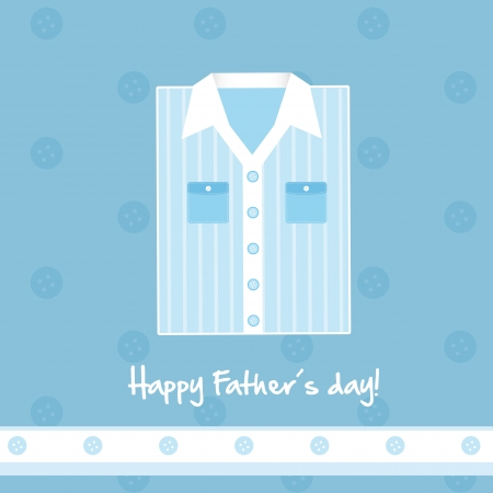 blue shirt: cute blue shirt card, happy fathers day. vector illustration