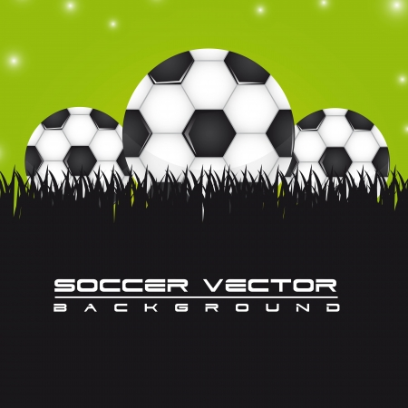soccer balls over grass background. vector illustration Stock Vector - 13755263