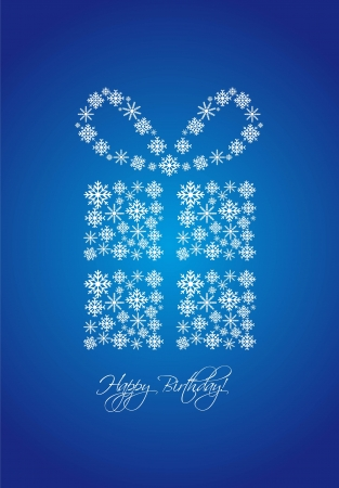 gift with snowflakes over blue background, happy birthday. vector illustration Stock Vector - 13755261
