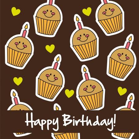 cute cup cakes, happy birthday card. vector illustration Vector
