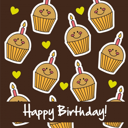 cute cup cakes, happy birthday card. vector illustration Vector