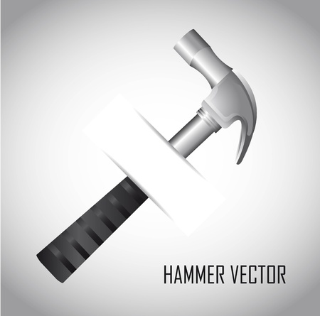 pounding head: silver hammer over gray background. vector illustration