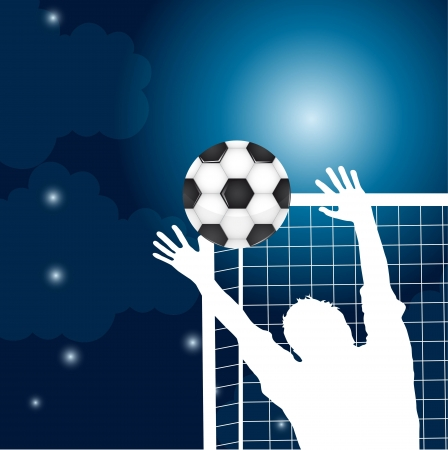 goalkeeper with soccer ball at night with moon and stars vector Vector