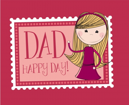 dad daughter: father day card with cute daughter background. vector Illustration