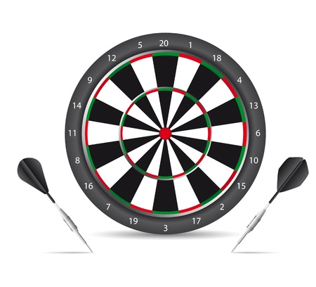 dartboard with black darts with shadow over white background. vector