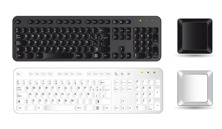 black and white keyboard and buttons over white background. vector Stock Vector - 13755307