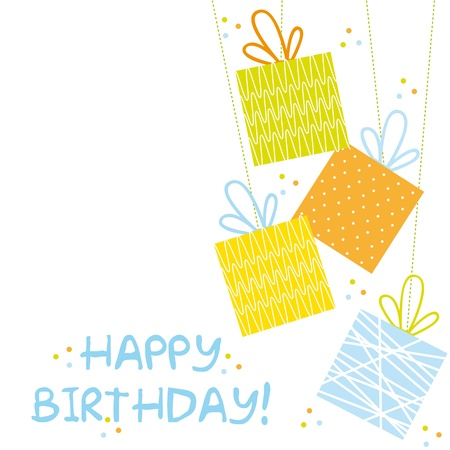 happy birtday: cute gifts over white background, happy birtday. vector