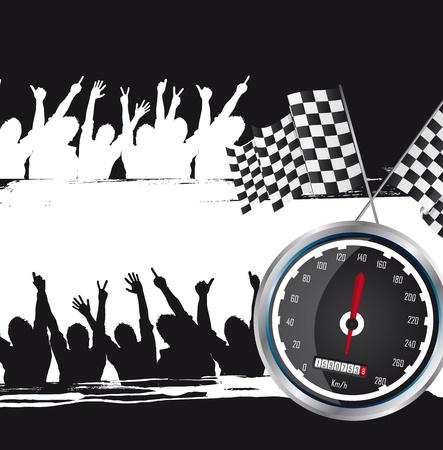 schwarz weiss kariert: Speed ??Racing mit Silhouette M�nner, Grunge. Vektor-Illustration
