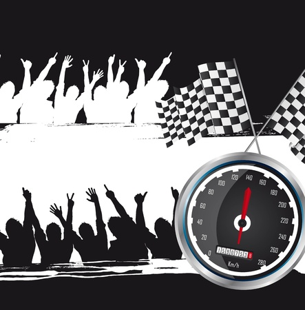 checker: speed racing with silhouette men, grunge. vector illustration