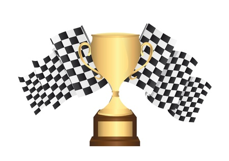 gold trophy with checkered flags isolated. vector illustration Illustration