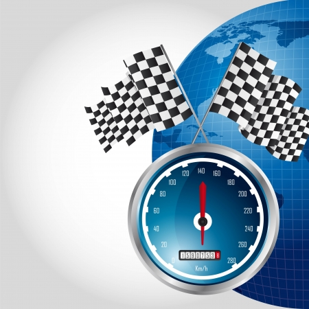 speed racing with checkered flag over planet. vector illustration Vector