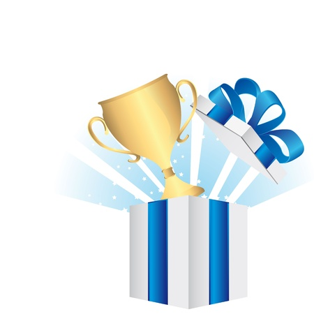 commendation: open gift with gold trophy over white background. vector